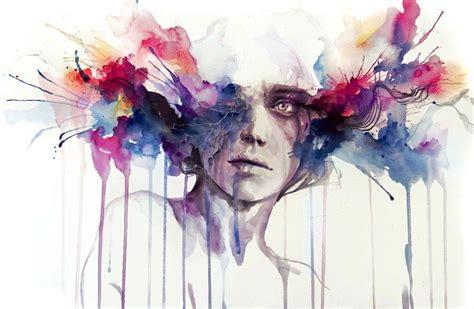 modern watercolor portrait color brains exploding