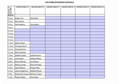 interview schedule template excel printable schedule