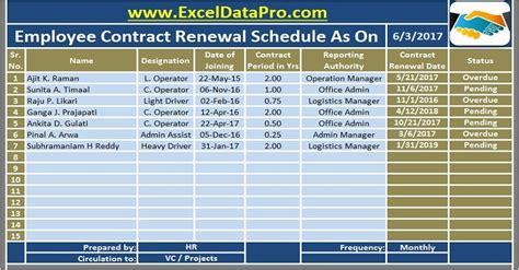 employee contract renewal schedule excel template