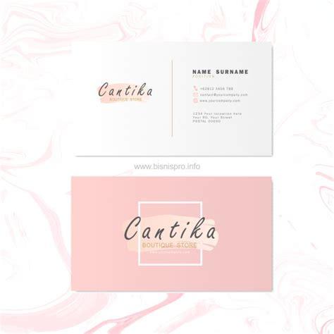 desain kartu nama cantik background pink serbabisnis