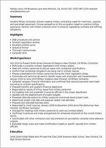 professional military contractor templates to showcase With contractor resume