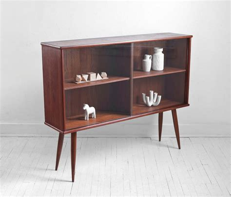 mid century teak bookshelf cabinet wall unit credenza
