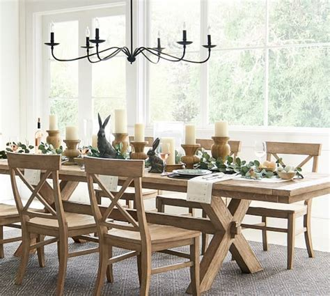 Bench is finished by hand using an exclusive technique that results in exceptional depth of color, then sealed with a protective lacquer for moisture resistance. Toscana Extending Dining Table, Seadrift | Pottery Barn ...