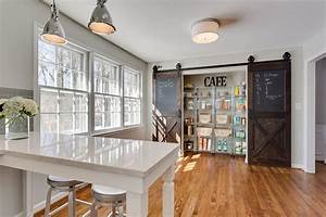 25 trendy kitchens that unleash the allure of sliding barn With kitchen colors with white cabinets with barn door wall art