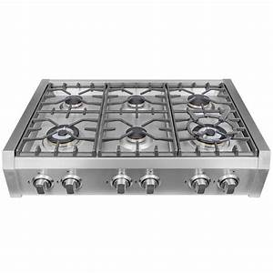 Cosmo 36 in Gas Cooktop in Stainless Steel with Griddle
