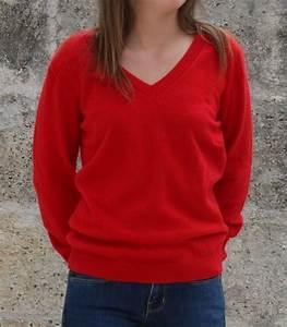 Pull col v pour femme en cachemire rouge