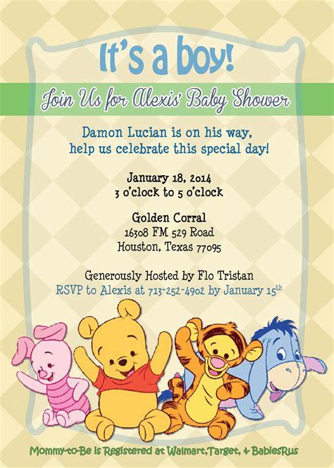 winnie  pooh baby shower invitation baby shower
