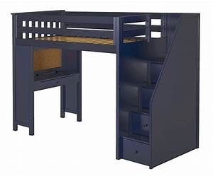 Braxton, Blue, Twin, Loft, Bed, With, Stairs, And, Desk, In, 2020
