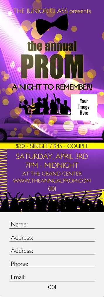 prom ticket template prom limo raffle ticket