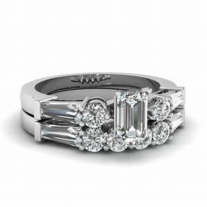 14k white gold emerald cut bar white diamond wedding sets With emerald cut diamond wedding ring sets