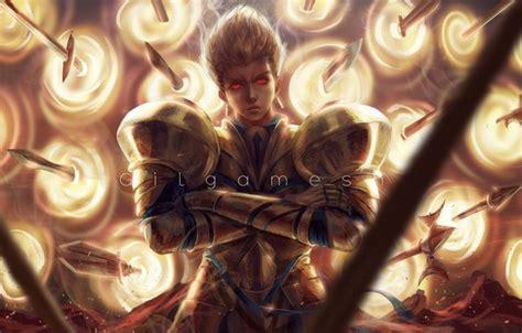 wallpaper guy swords gilgamesh golden armor fate