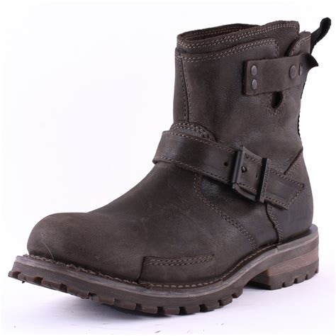 mens biker shoes caterpillar vern mens leather black biker boots new shoes