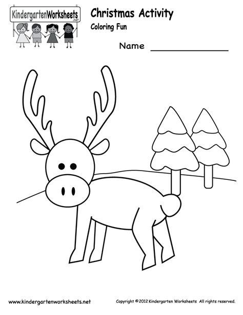 kindergarten christmas coloring worksheet printable