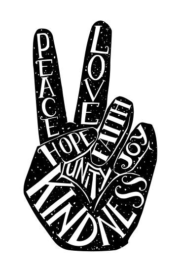 """Peace Sign with words Peace, Love, Faith, Joy, Hope"