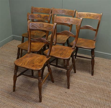 Kitchen Chairs by Set Of Six Elm Antique Country Kitchen Chairs
