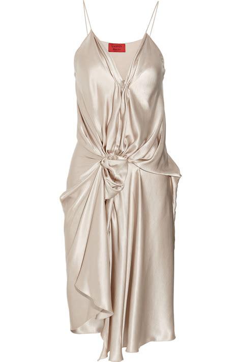 Draped Satin Dress - lyst lanvin draped silk satin dress in white