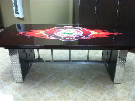 Custom table made for the firehouse. Roof ladder ...