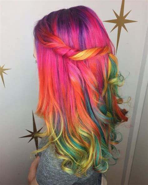 Color Hairstyles For Hair by 29 Colorful Rainbow Hair Ideas Trending In 2019