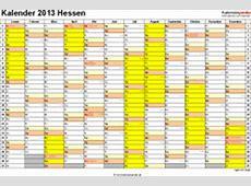 Kalender 2013 Hessen Ferien, Feiertage, ExcelVorlagen