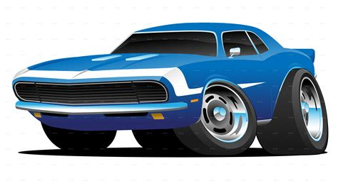 Classic Sixties Style American Muscle Car Cartoon By