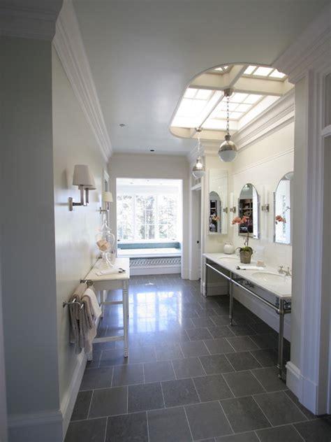 gray slate tile transitional bathroom freckles chick