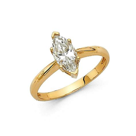 1 ct marquise solitaire engagement wedding promise ring real 14k yellow gold ebay