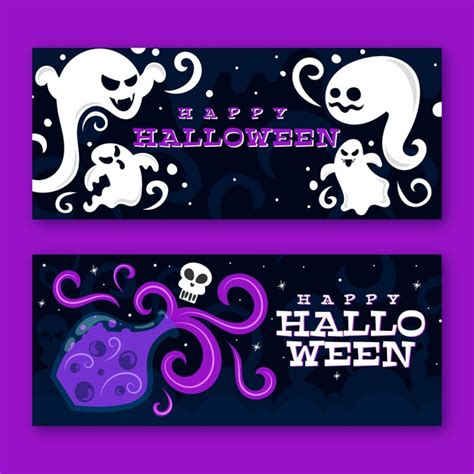 Make your own halloween banner or garland with this diy happy halloween banner svg kit. Free Vector | Flat design halloween banners template