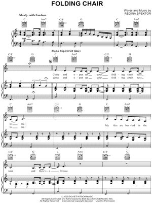 regina spektor quot folding chair quot sheet music download print