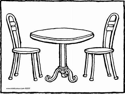 Table Chair Drawing Coloring Chairs Furniture Clipart