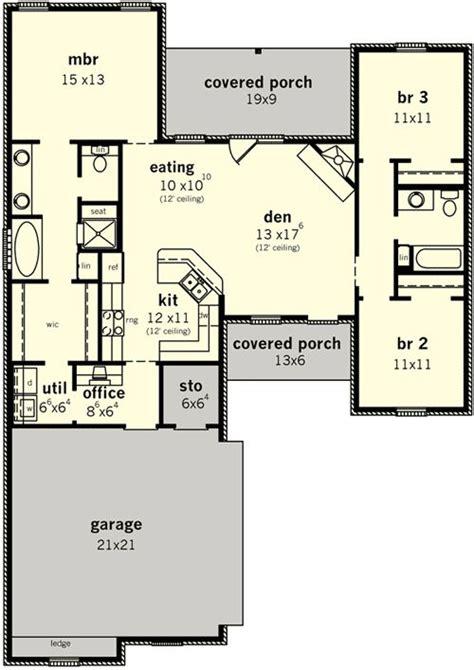 Split Bedroom Plan by Plan 83099dc Split Bedroom Home For Narrow Lot