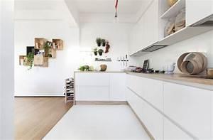 cuisine blanche plan de travail bois inspirations de deco With cuisine blanche et plan de travail bois