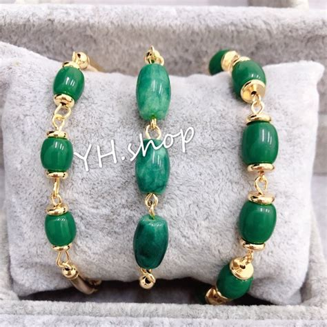 yh  bangkok rose gold plated jade bracelet shopee