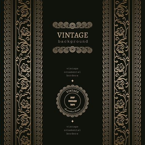 golden lace vintage background vector