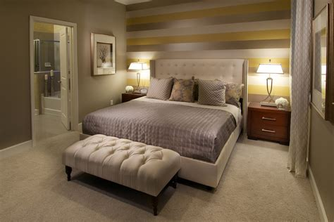 Warm Bedroom Interior Design With Unique Stripes Accents Wall Ideas Feat White Upholstered Bed