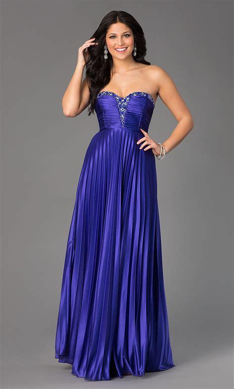 Strapless Sweetheart Pleated Floor Length Dress