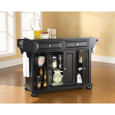 black granite top kitchen island alexandria solid black granite top kitchen island in black