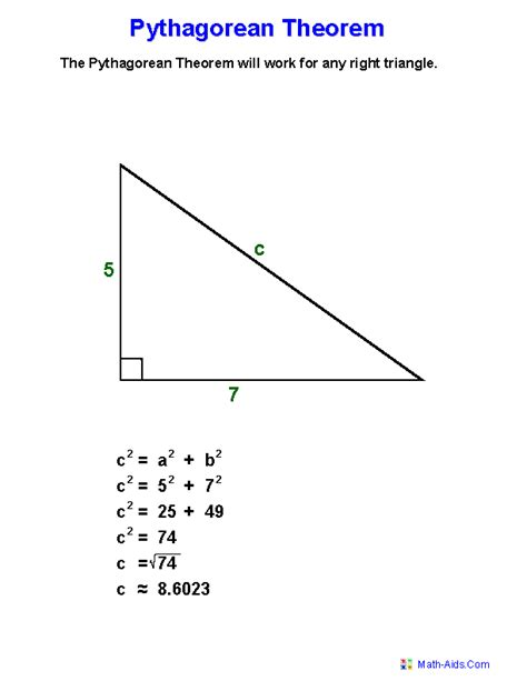 pythagorean theorem definition worksheets  great