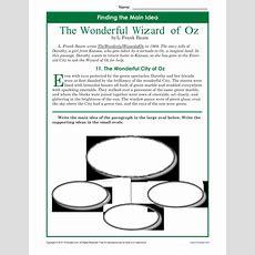 Main Idea Worksheets  The Wonderful Wizard Of Oz