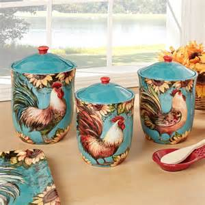 sunflower canister sets kitchen sunflower rooster turquoise kitchen canister set