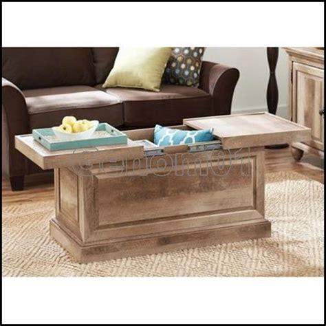 Weathered Coffee Table SLIDE TOP Hidden Storage Box Rustic Oak Wood Furniture   eBay
