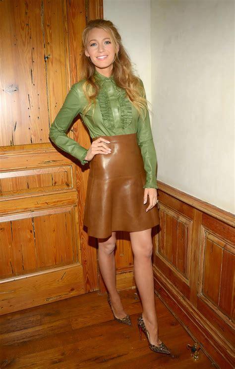 blake lively green silk blouse leather skirt satin