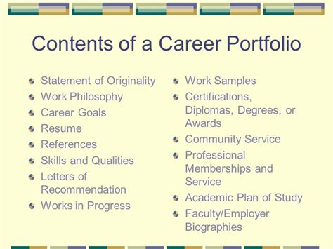 Resume Portfolio Contents by Career Portfolios Ppt