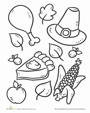 color the thanksgiving symbols worksheet education 975 | color thanksgiving symbols holiday kindergarten