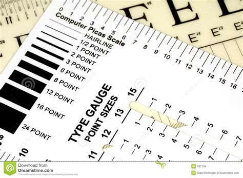 type gauge stock photo image of pica graphics font scale 187744
