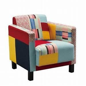 fauteuil patchwork tissus cubik fauteuil armchair With fauteuil original coloré