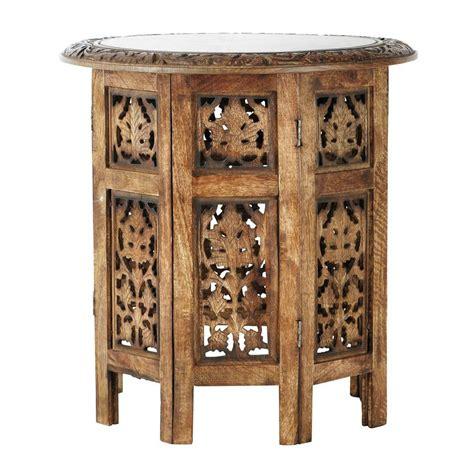 bout de canap 233 sculpt 233 en bois l 46 cm saranya maisons du monde
