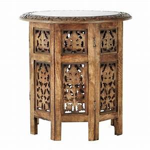 bout de canape sculpte en bois l 46 cm saranya maisons With tapis oriental avec bout de canapé buche
