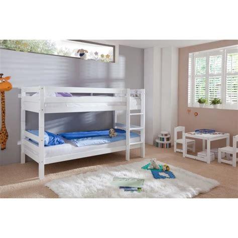 but lit superpose en bois lit superpos 233 en bois h 234 tre massif coloris blanc achat vente lits superpos 233 s soldes