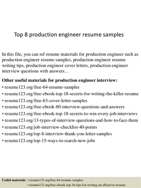 top 8 production engineer resume sles