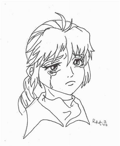 Sad Coloring Anime Pages Sheets Face Drawing